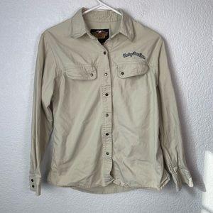 Harley Davidson Khaki Button Down Shirt Medium